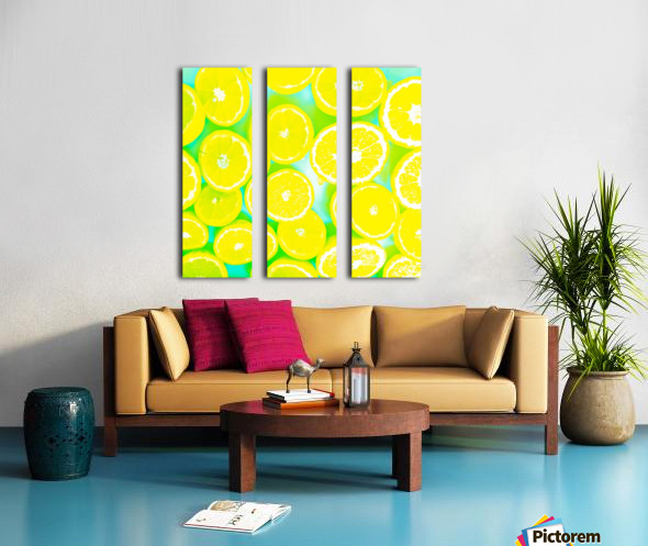 juicy yellow lemon pattern abstract with green background Split Canvas print