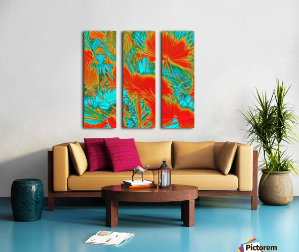 closeup palm leaf texture abstract background in orange blue green Split Canvas print