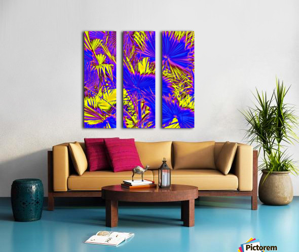 closeup palm leaf texture abstract background in blue pink and yellow Split Canvas print