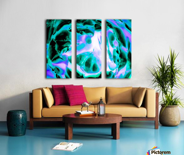 closeup rose texture abstract background in blue purple and green Split Canvas print