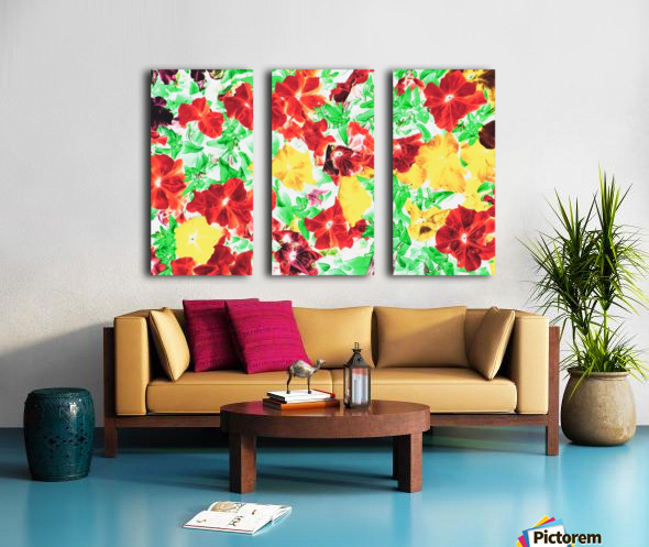 red flower and yellow flower with green leaf abstract background Split Canvas print