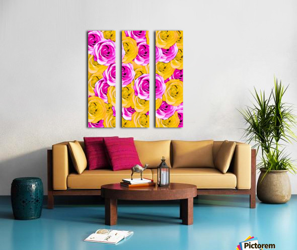 pink rose and yellow rose pattern abstract background Split Canvas print