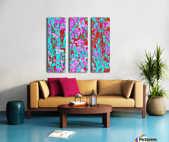 pink maple tree leaf with blue and red abstract background Split Canvas print
