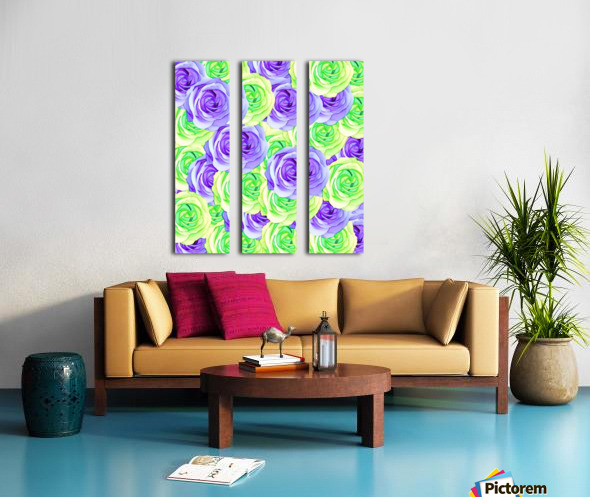 purple rose and green rose pattern abstract background Split Canvas print