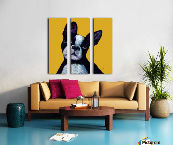 BOSTON TERRIER ON YELLOW Split Canvas print