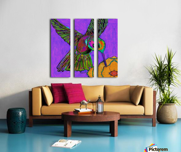HUMMINGBIRD ON PURPLE Split Canvas print