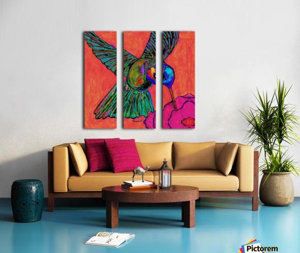 HUMMINGBIRD ON ORANGE Split Canvas print