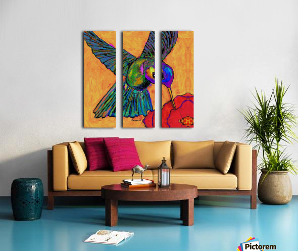 HUMMINGBIRD ON YELLOW Split Canvas print