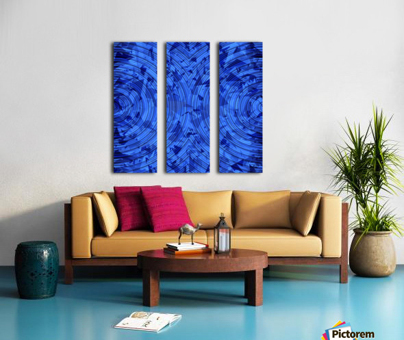 psychedelic geometric circle pattern abstract background in blue Split Canvas print