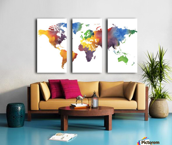 Colorful Map Of The World Watercolor Split Canvas print