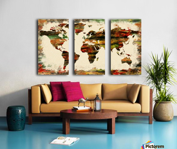 World Map Decorative Painting Split Canvas print