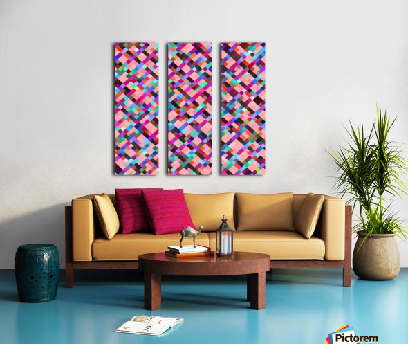 geometric pixel square pattern abstract background in pink purple blue yellow green Split Canvas print