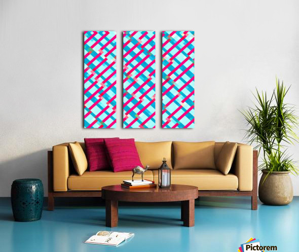 geometric pixel square pattern abstract background in blue pink Split Canvas print