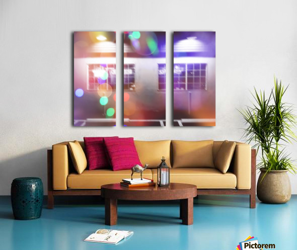 restaurant in the city with the colorful night light bokeh abstract Split Canvas print
