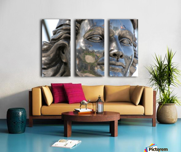 Face of Dolores Del Rio Silver Statue Split Canvas print