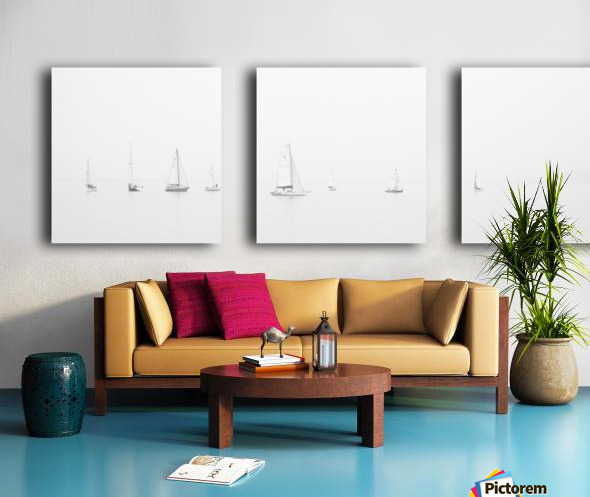 sea black and white ocean boats Split Canvas print