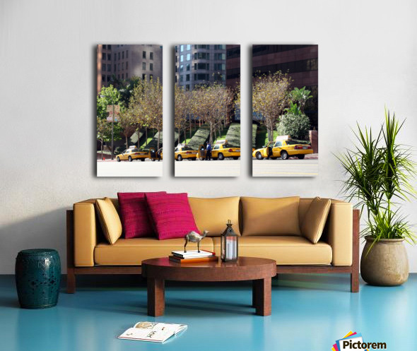 Four Taxis Four Trees Split Canvas print