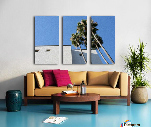3 Palm Trees Next to Building Split Canvas print