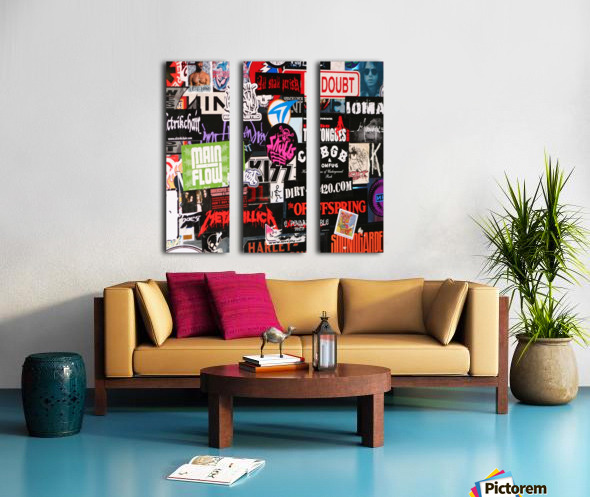 Rock & Roll Stickers Split Canvas print