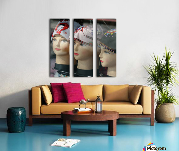 Three Mannequin Heads with Bandanas Split Canvas print