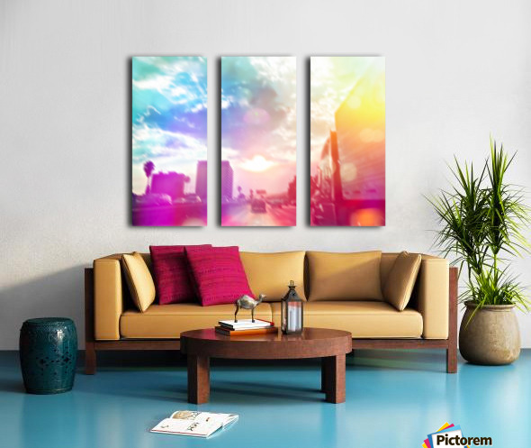 blue cloudy sky on the road with colorful bokeh light abstract Split Canvas print