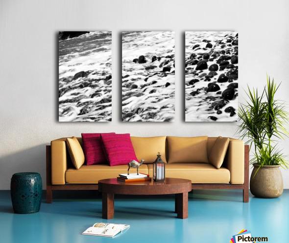 Beach Rocks Black and White II Split Canvas print