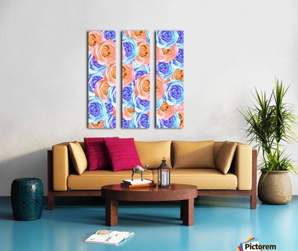blooming rose texture pattern abstract background in red and blue Split Canvas print