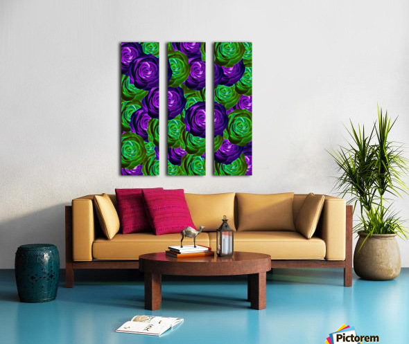 blooming rose texture pattern abstract background in purple and green Split Canvas print