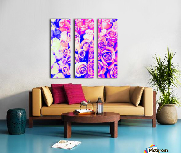 bouquet of roses texture pattern abstract in pink and purple Split Canvas print