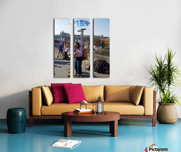 Charles Bridge Prague Street Musician Split Canvas print