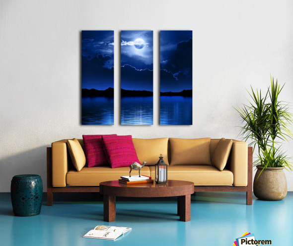 Fantasy Moon and Clouds over water Split Canvas print
