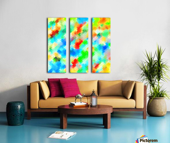 psychedelic geometric pixel abstract pattern in blue green red orange Split Canvas print