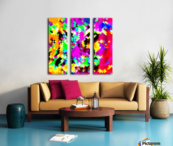 psychedelic geometric pixel abstract pattern in pink purple blue green yellow Split Canvas print