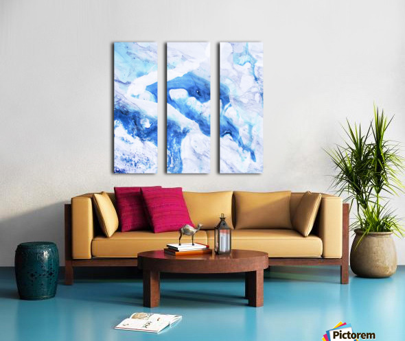blue abstract marble Split Canvas print
