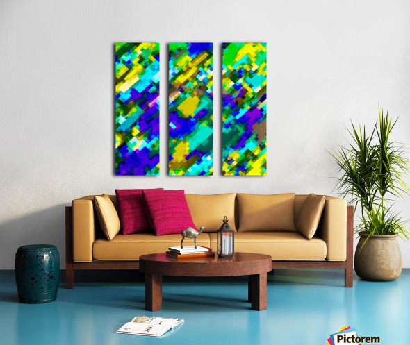psychedelic geometric square pixel pattern abstract in green yellow blue purple Split Canvas print