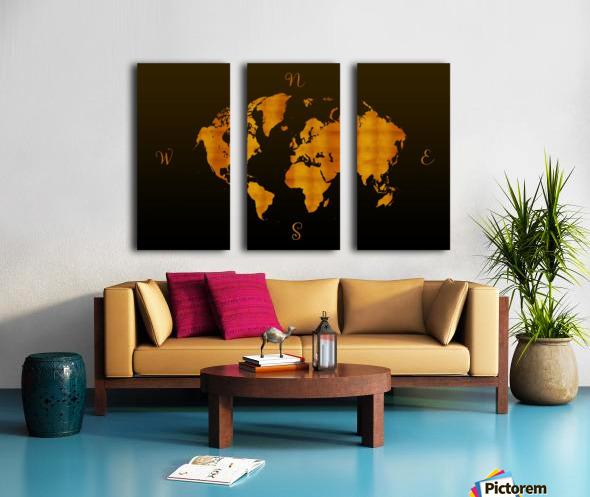 MODERN GRAPHIC ART World Map |  | Redgold Split Canvas print