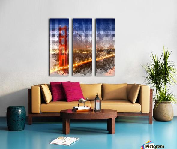 Graphic Art Golden Gate Bridge | watercolour style Split Canvas print