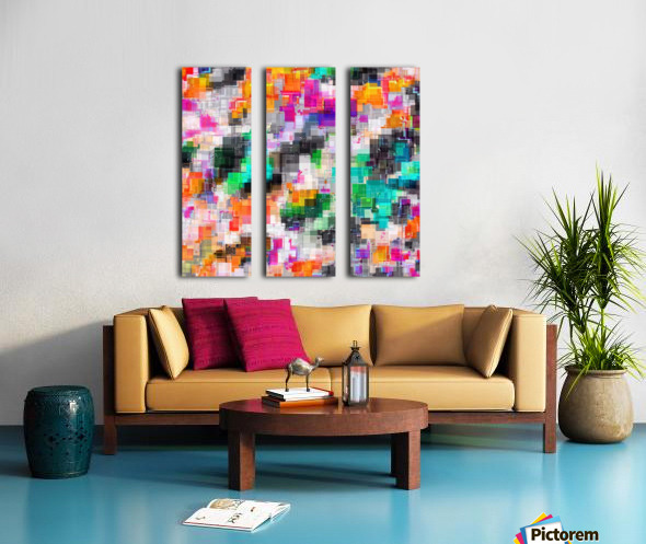 psychedelic geometric square pixel pattern abstract in orange green pink blue Split Canvas print