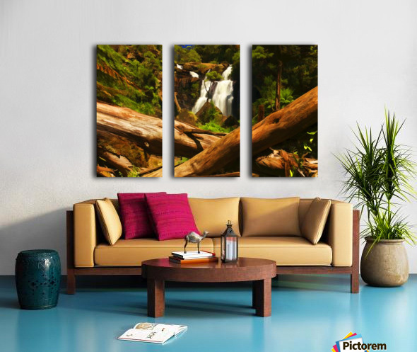 Tree Trees Fallen accross a Stream and Waterfall Digital Painting C010300_1114915 Split Canvas print
