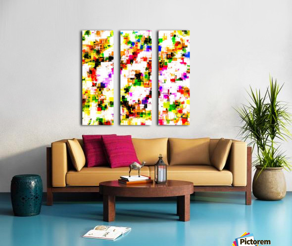 psychedelic geometric square pixel pattern abstract background in green red pink yellow Split Canvas print