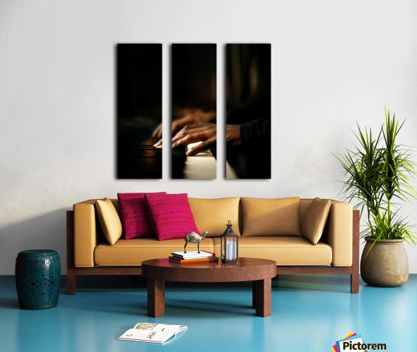 Hands playing piano close-up Split Canvas print