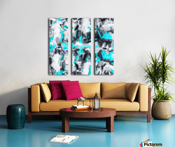 splash painting texture abstract background in blue and black Split Canvas print
