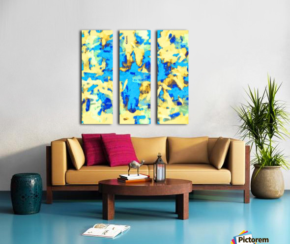 splash painting texture abstract background in blue and yellow Split Canvas print