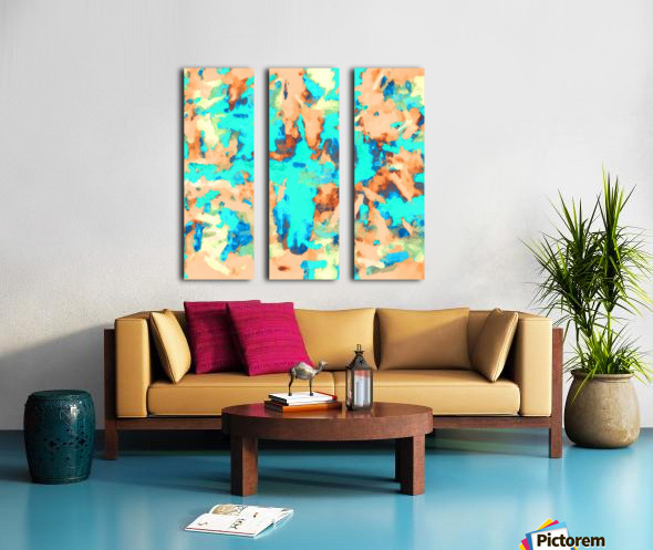 splash painting texture abstract background in blue and orange Split Canvas print