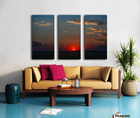 Crimson Red Sunset Over The Hill With A Black Silhouette Split Canvas print