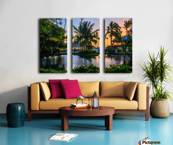 Multicolored tropical dawn with pond and palm trees, white pelican Split Canvas print