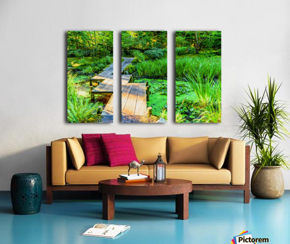 wooden bridge across a pond with duckweed and leaves of water lilies Split Canvas print