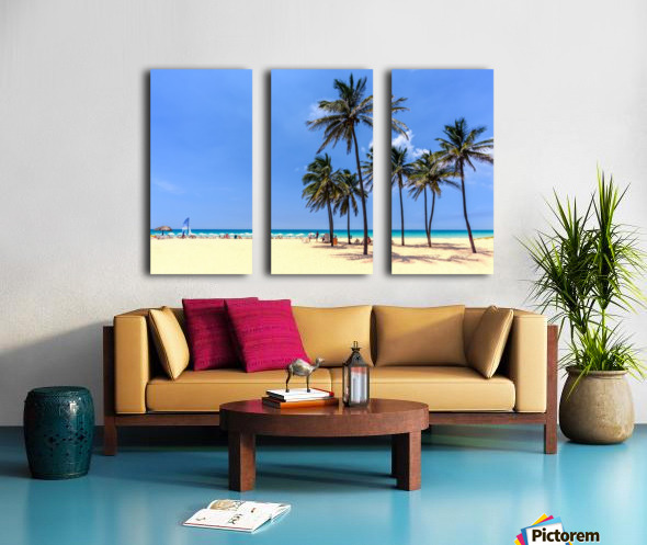 vacation on the beach on the hot Caribbean islands with green palms, yellow sand, blue sky Split Canvas print