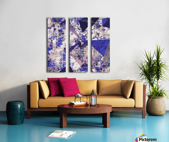 psychedelic geometric triangle polygon pattern abstract in blue and pink Split Canvas print