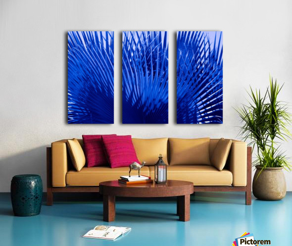 Blue Palms Split Canvas print